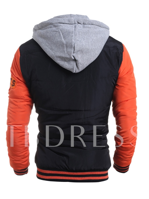 Hooded Raglan Sleeve Color Block Badge Printed Slim Men's Winter Jacket