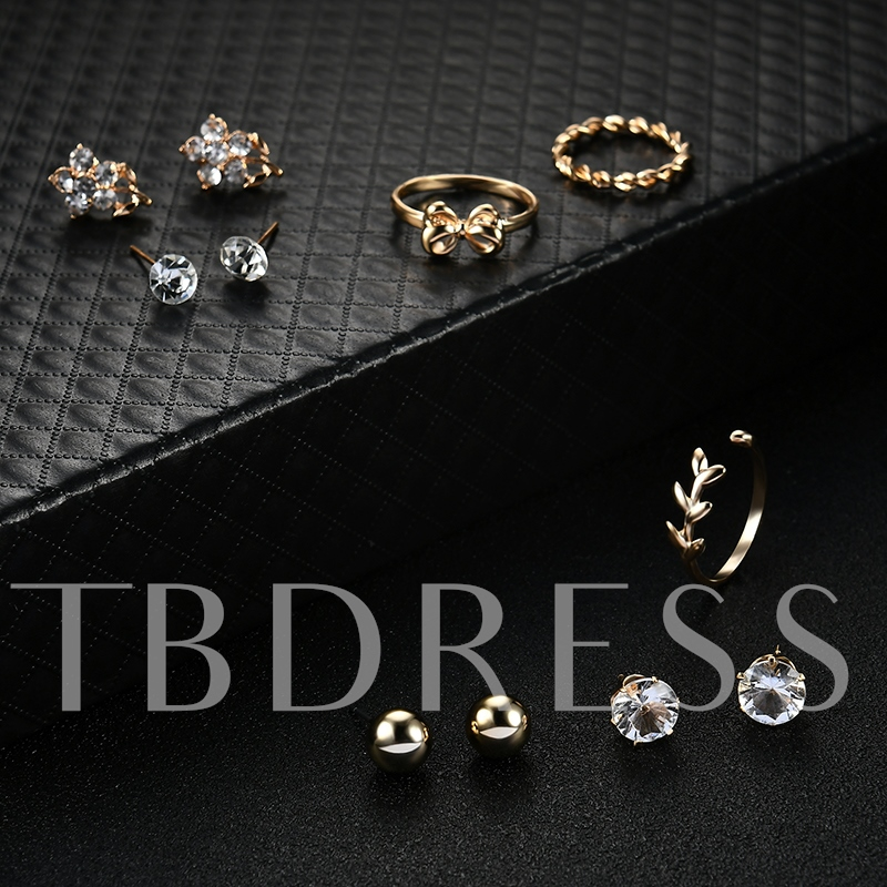 Shiny Openings Zircon Inlaid Diamante Bowknot Earrings&Rings Jewelry Sets