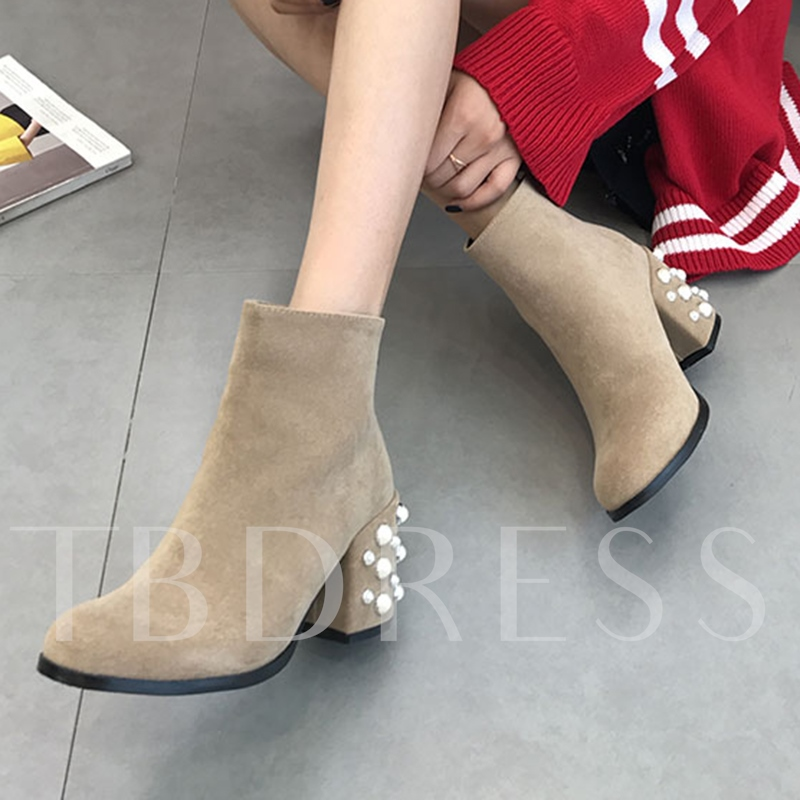 Back Zip Chunky Heels with Pearls Women's Ankle Boots