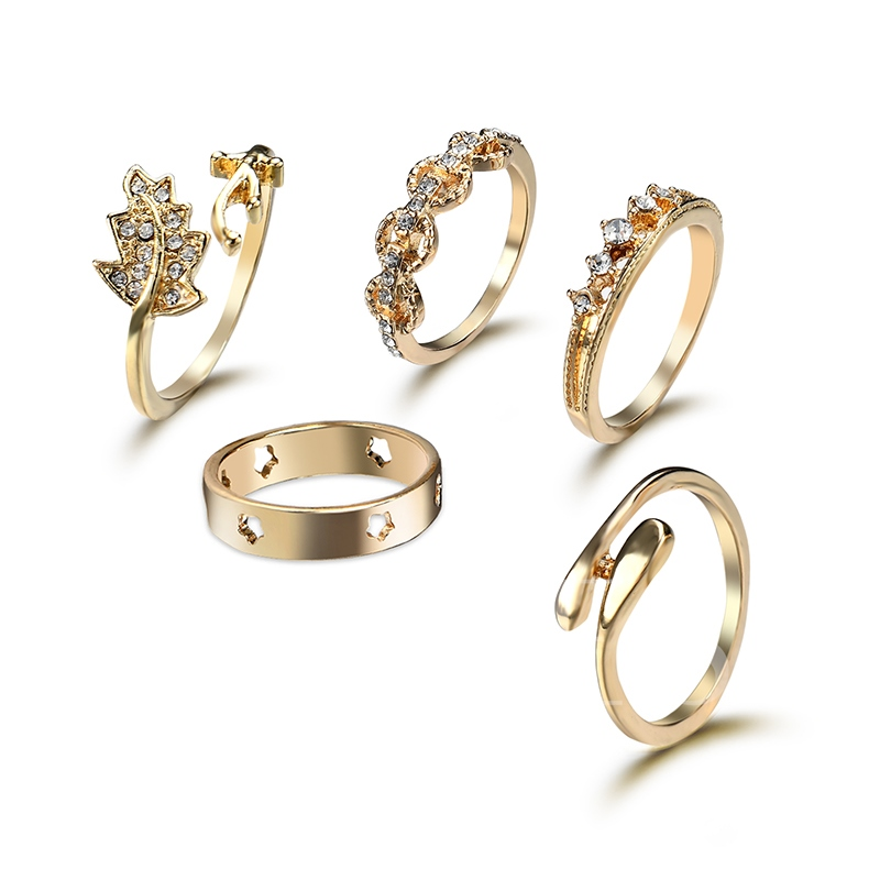 Sparkling Leaves Diamante Polishing Alloy Knuckle Joint Combination Ring