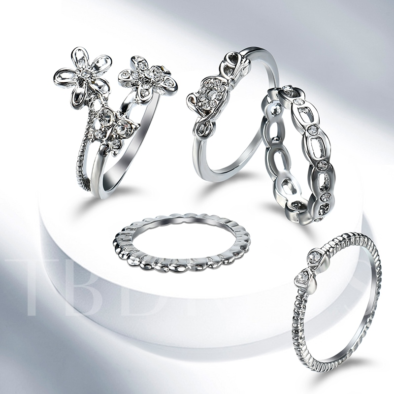 Flower Bowknot Silver Plated Set Ring
