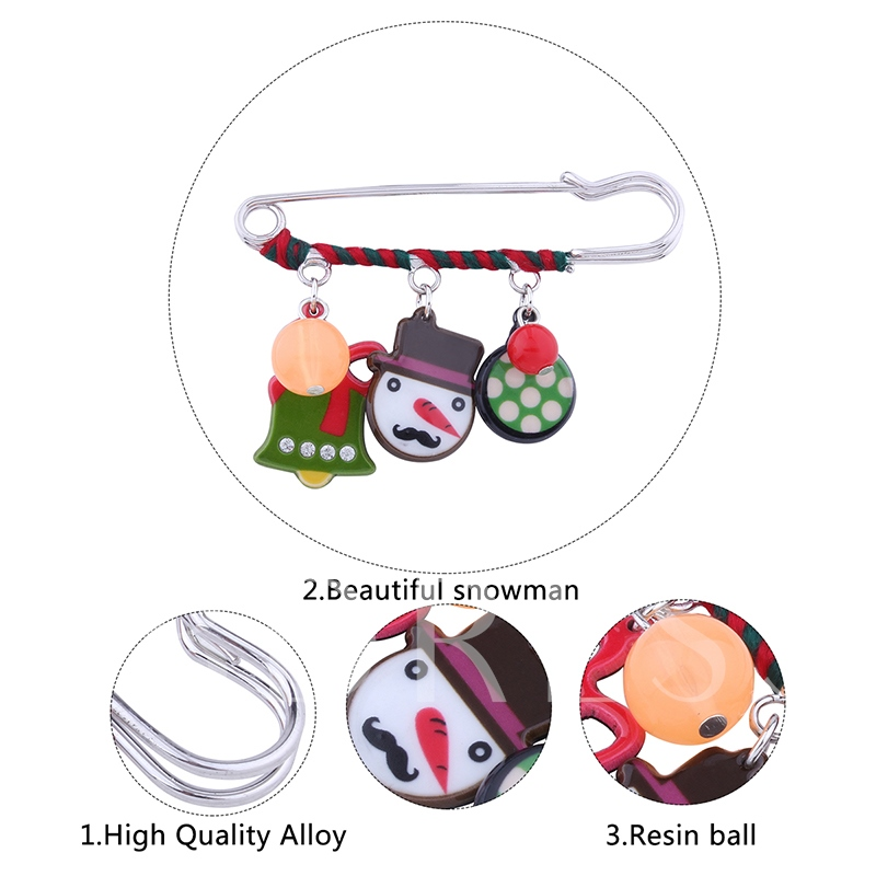 Small Bell Snowman Rhinestone Alloy Bowknot Christmas Women's Brooches