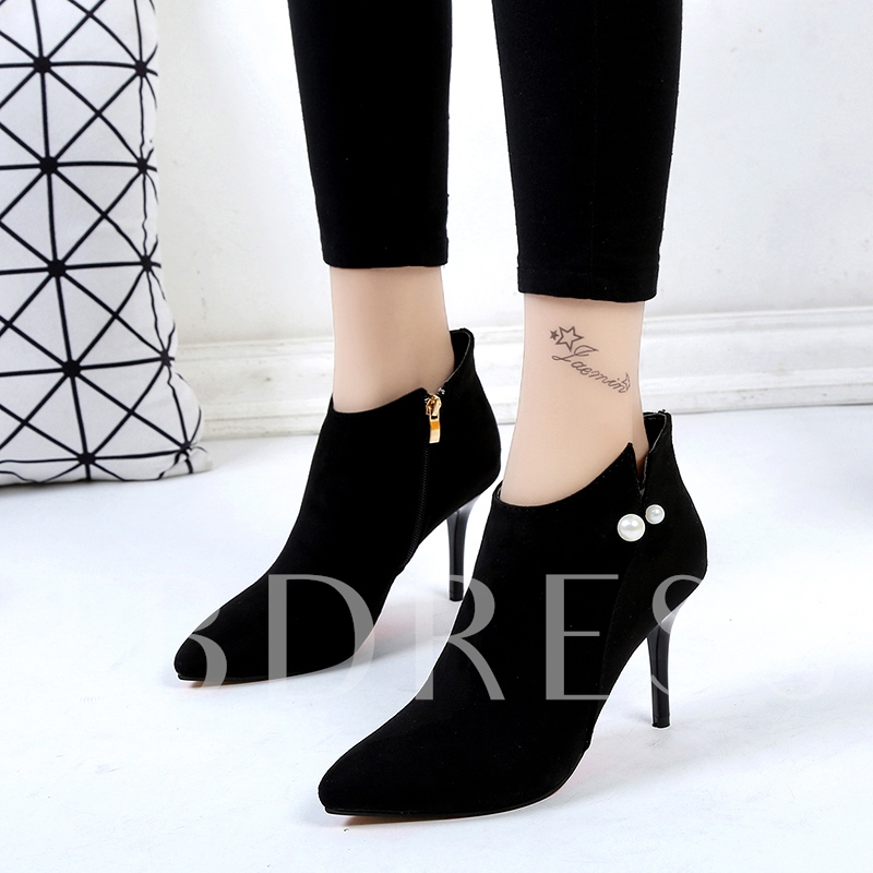 Suede Pearl Women's Black High Heel Ankle Boots