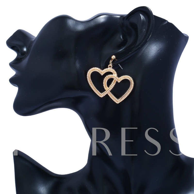 Heart Shaped Overgild Alloy Geometric Earrings