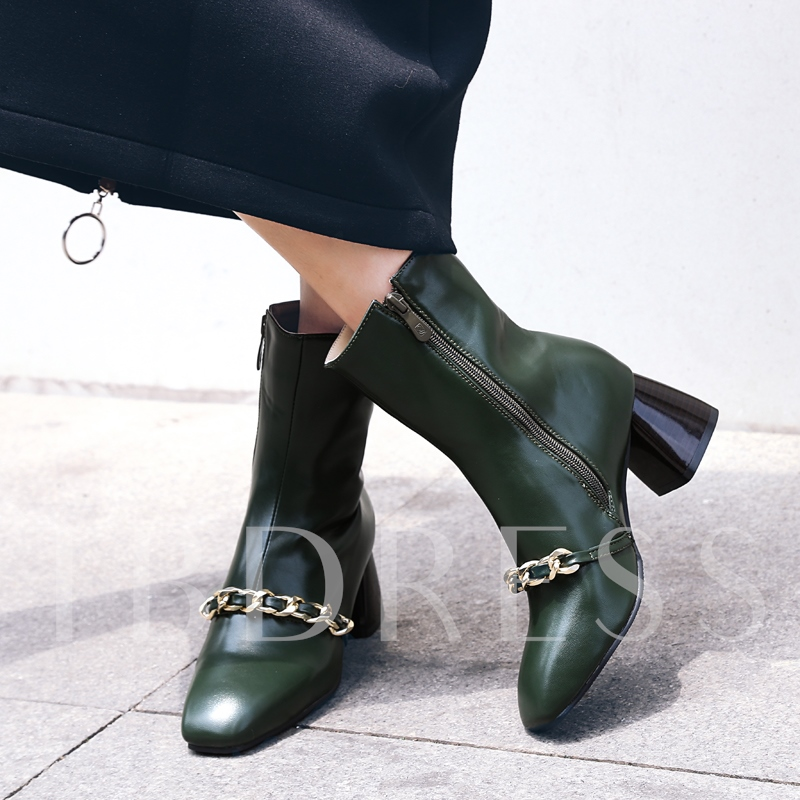 Chain Front Chunky Heel Shoes Solid Women's Ankle Boots