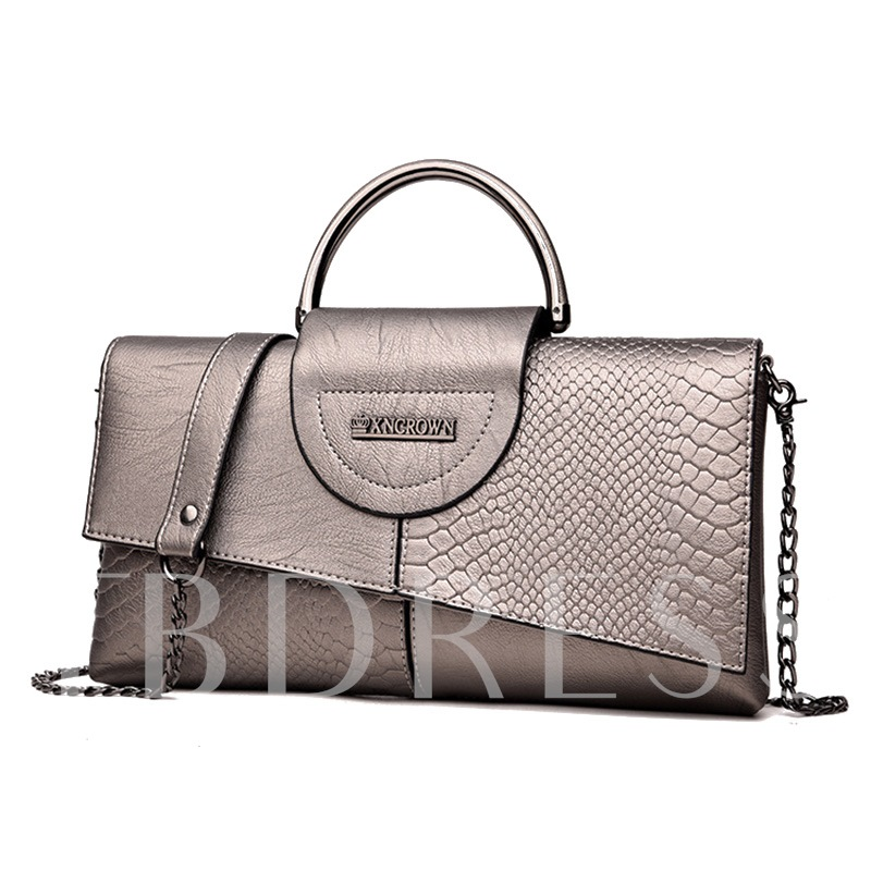 Vogue Crocodile Print Chain Cross Body Bag