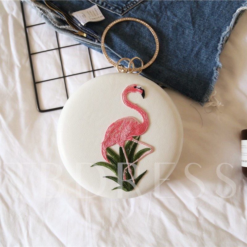 Circular Handle Embroidery Evening Clutch