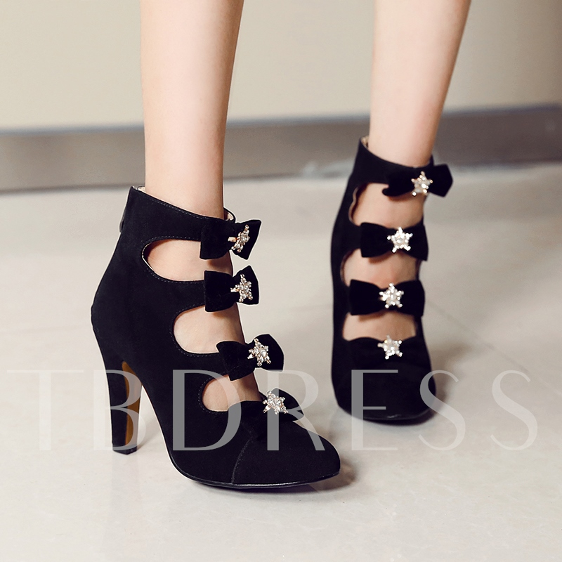 Suede Bow Front Rhinestone Hollow High Heel Women's Boots