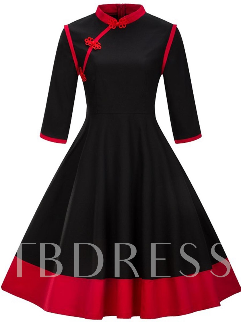 Mandarin Collar 3/4 Sleeve Women's Day Dress