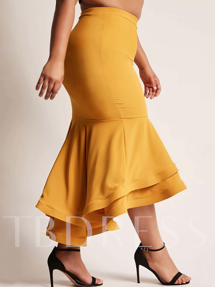 Plus Size Falbala High-Waist Women's Fishtail Skirt