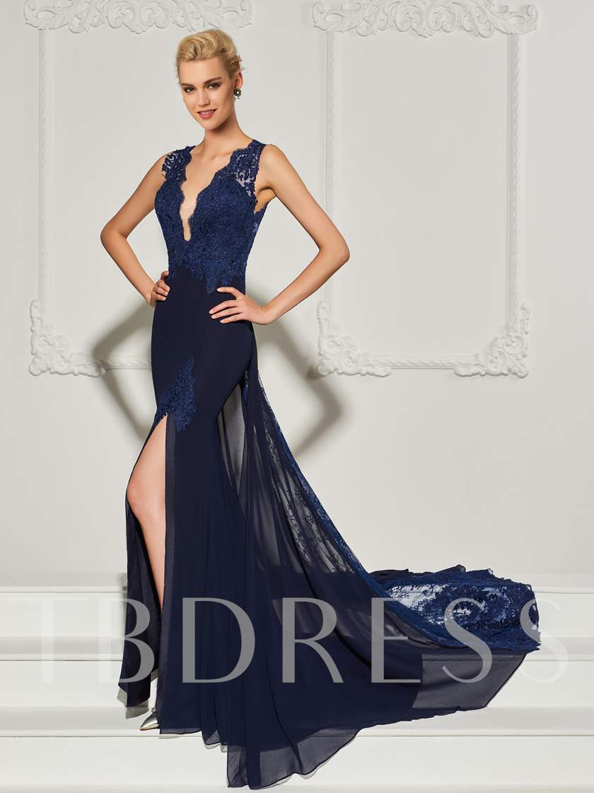 Mermaid Lace Split-Front Court Train Evening Dress