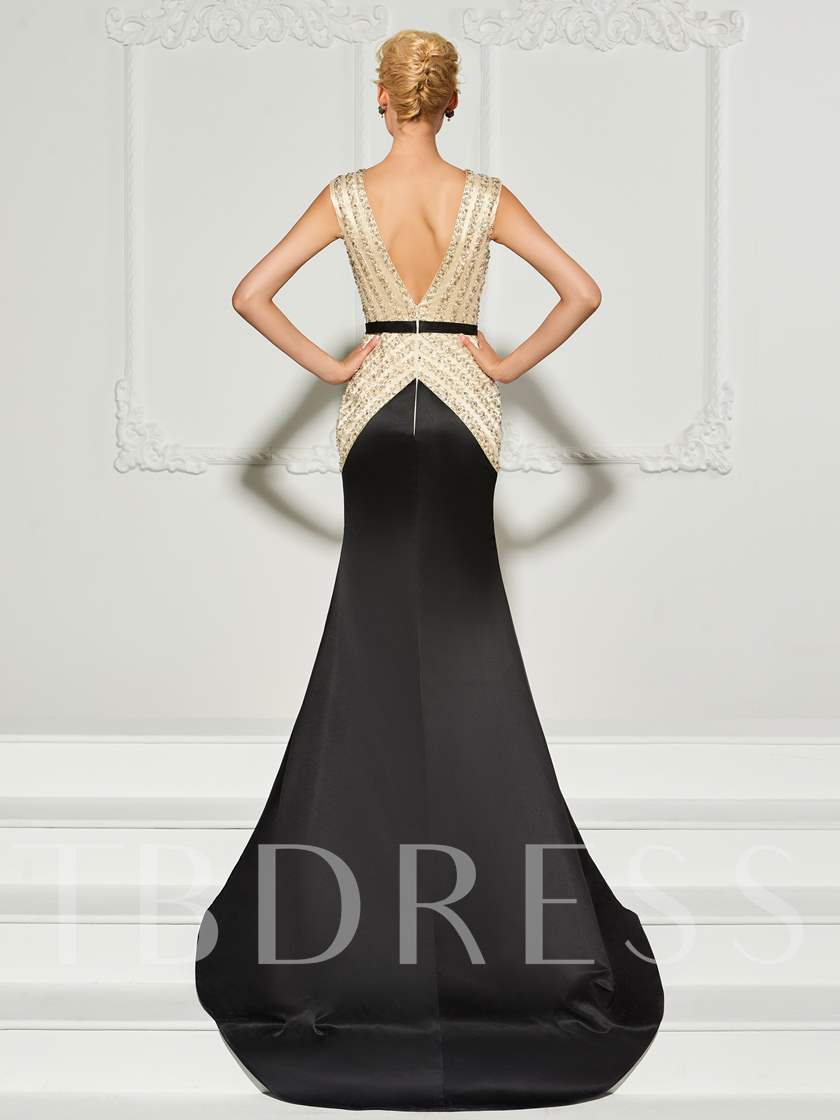 Trumpet Beading V-Neck Backless Court Train Evening Dress