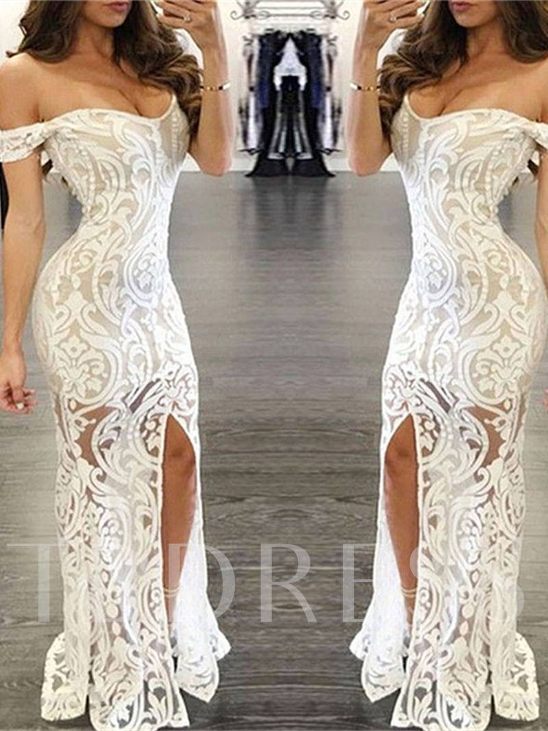 Off-the-Shoulder Trumpet Lace Split-Front Evening Dress