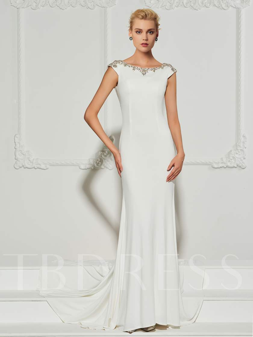 Low Back Beading Cap Sleeves Mermaid Evening Dress