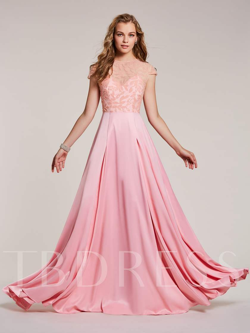 A-Line Scoop Cap Sleeves Empire Beading Evening Dress