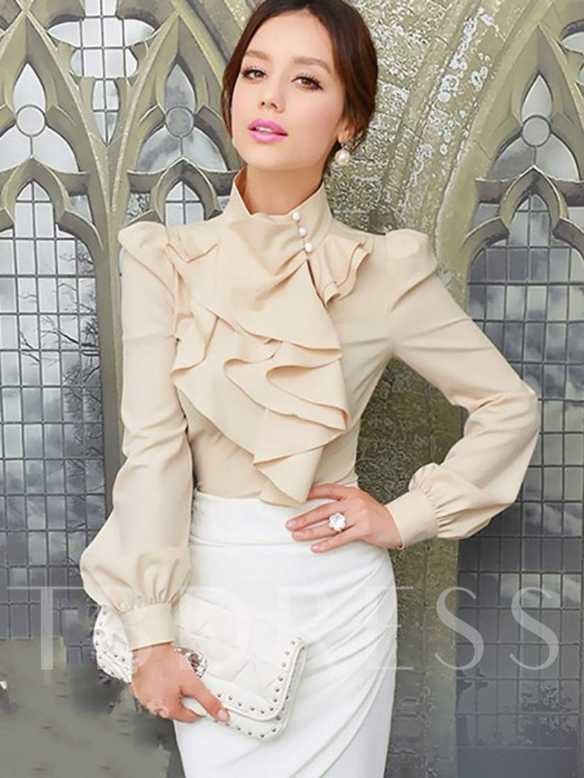 Slim Asymmetric Flounced Long Sleeve Women's Blouse
