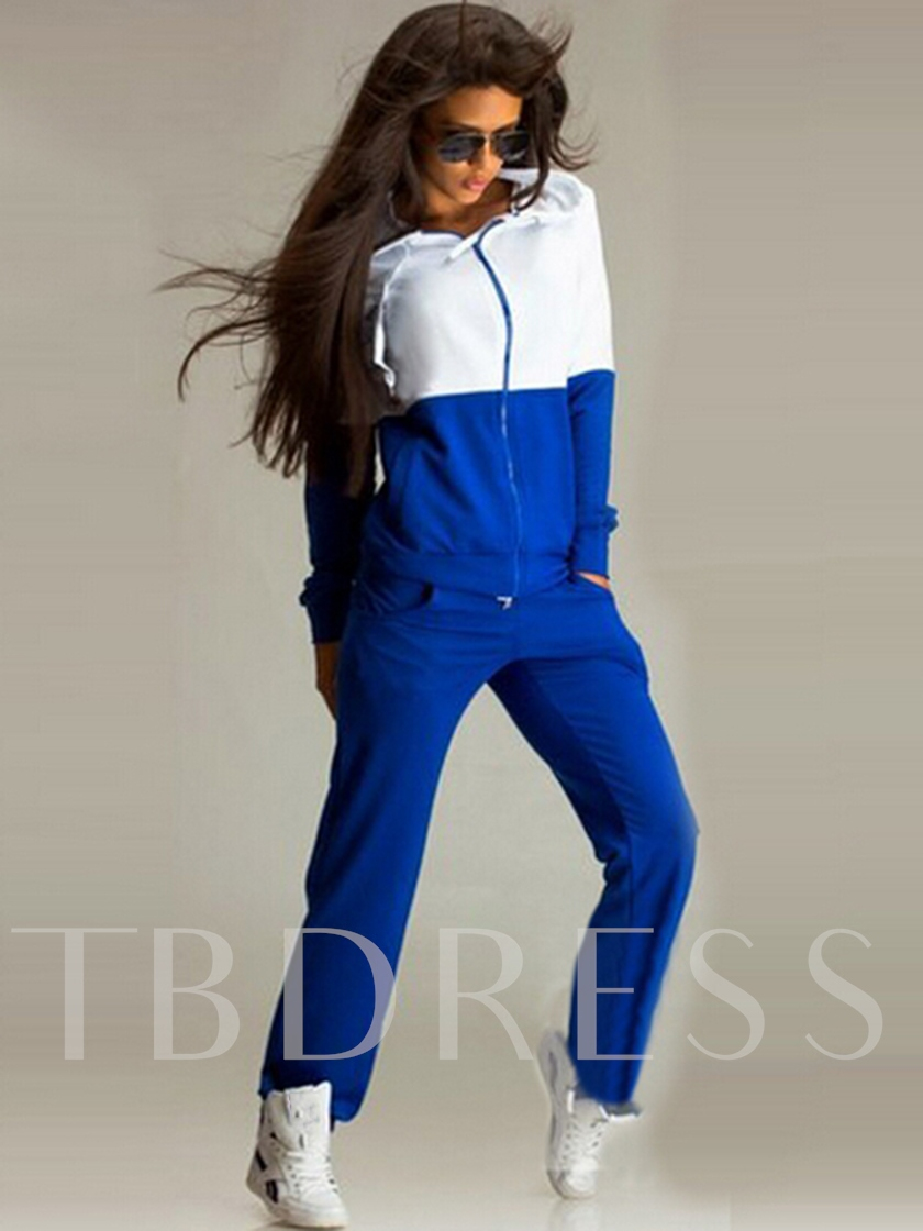 Lace-Up Hoodie Color Block Hooded Women's Two Piece Sets