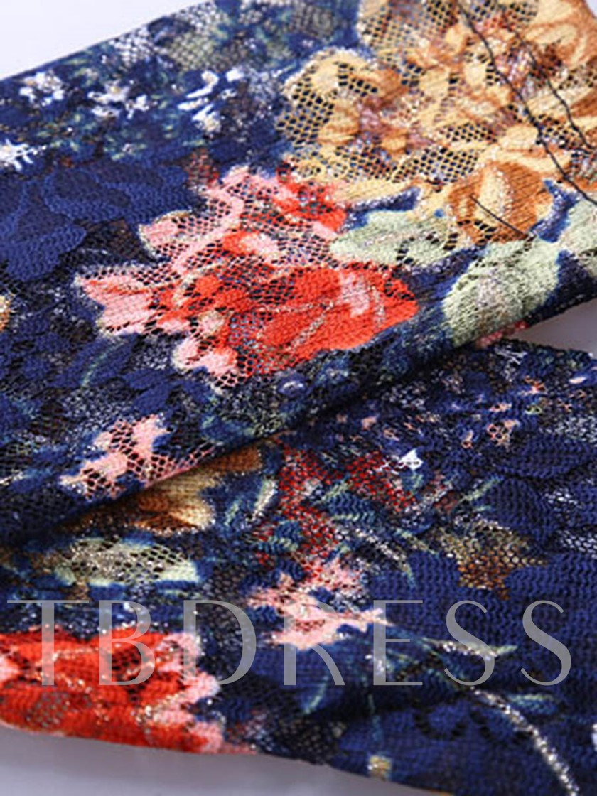 Pullover Floral Hollow Lace Patchwork with Beads Women's Blouse