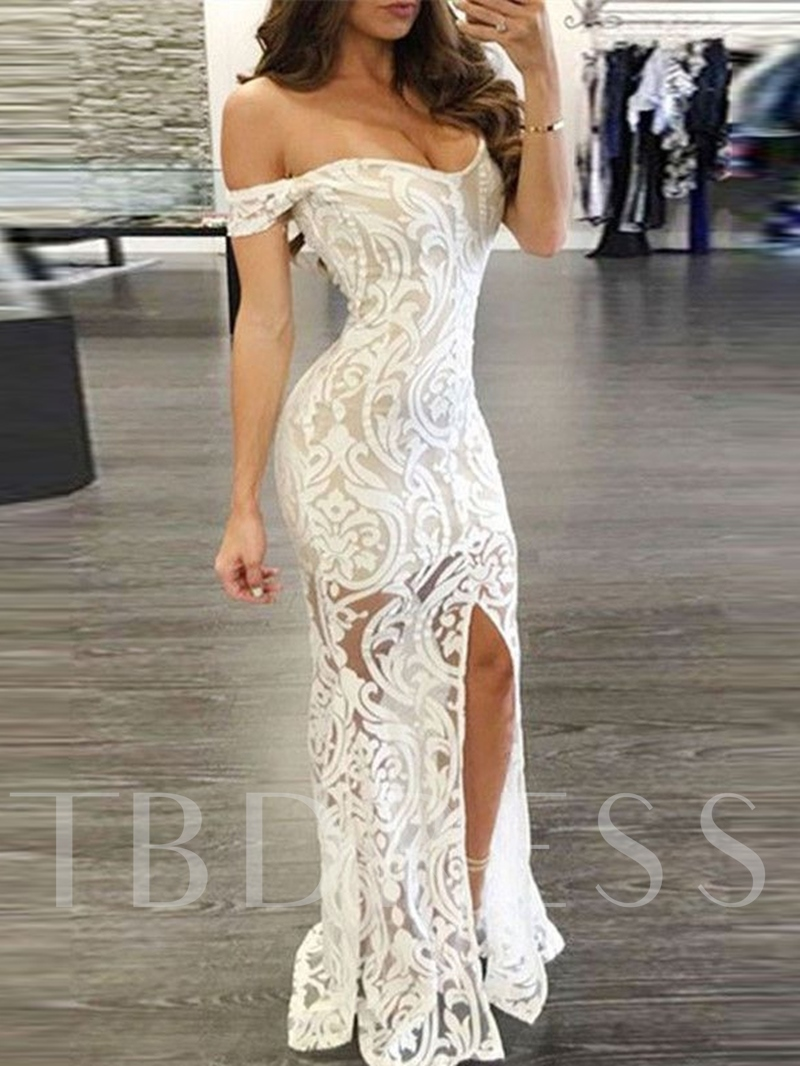 Off-the-Shoulder Split-Front Lace Evening Dress