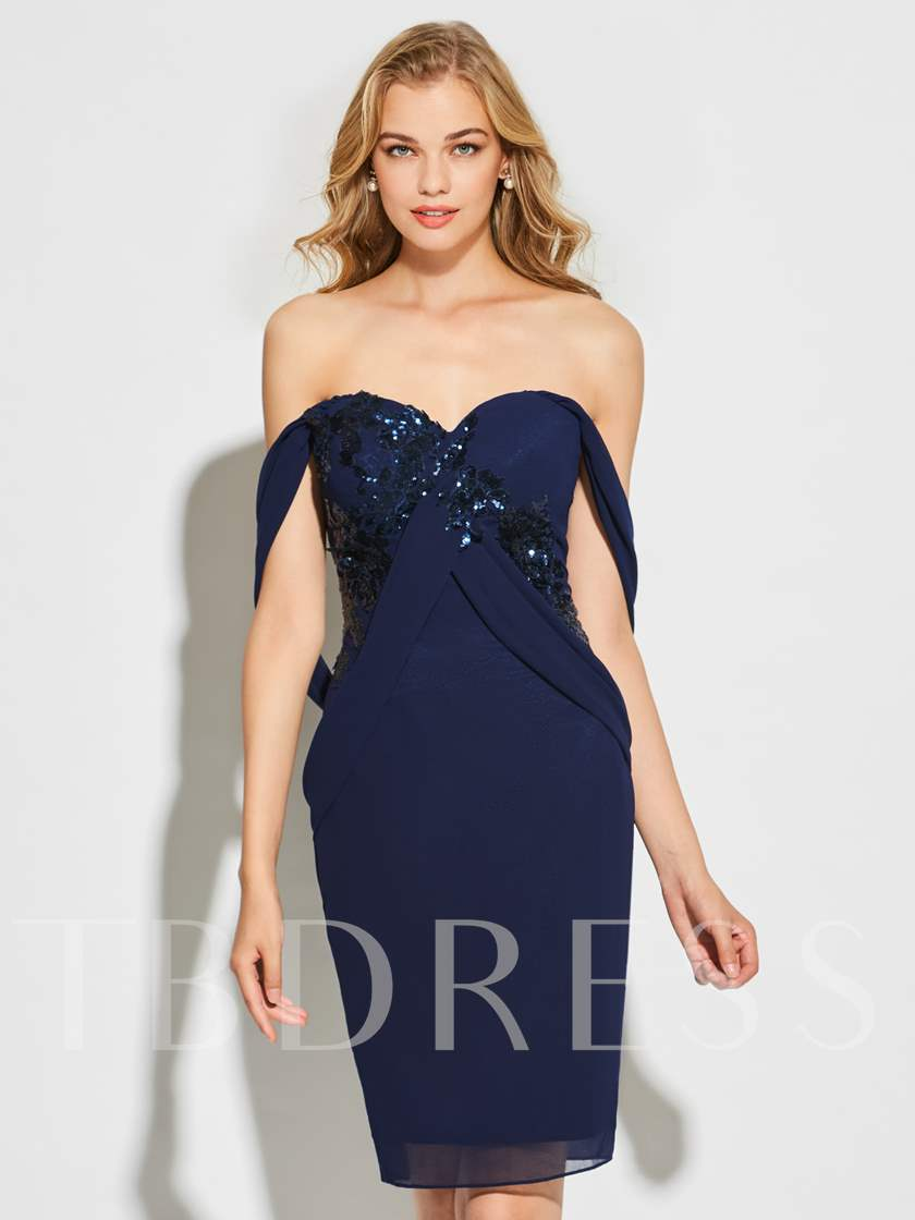 Sheath Sweetheart Appliques Sequins Knee-Length Cocktail Dress