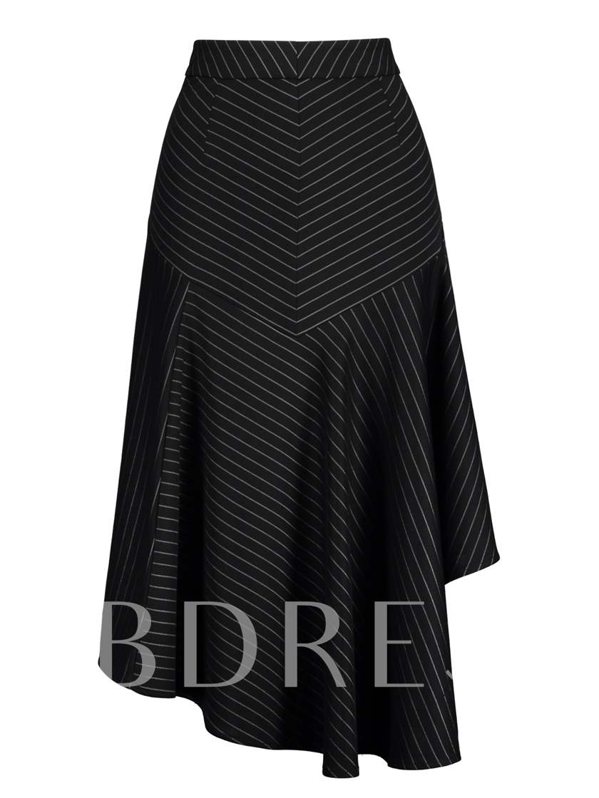 Asymmetric Plain Ruffled Women's Skirt