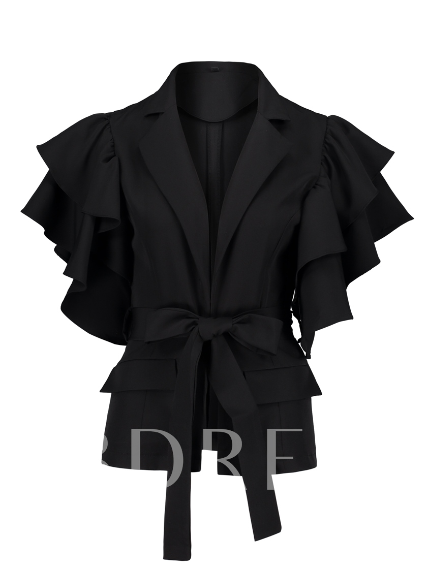 Lapel With Petal Sleeve And Belt Women's Blazer