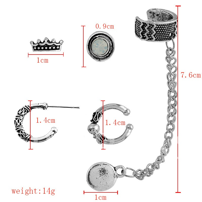 Alloy Link Chain Crown Round Vintage Earring Sets