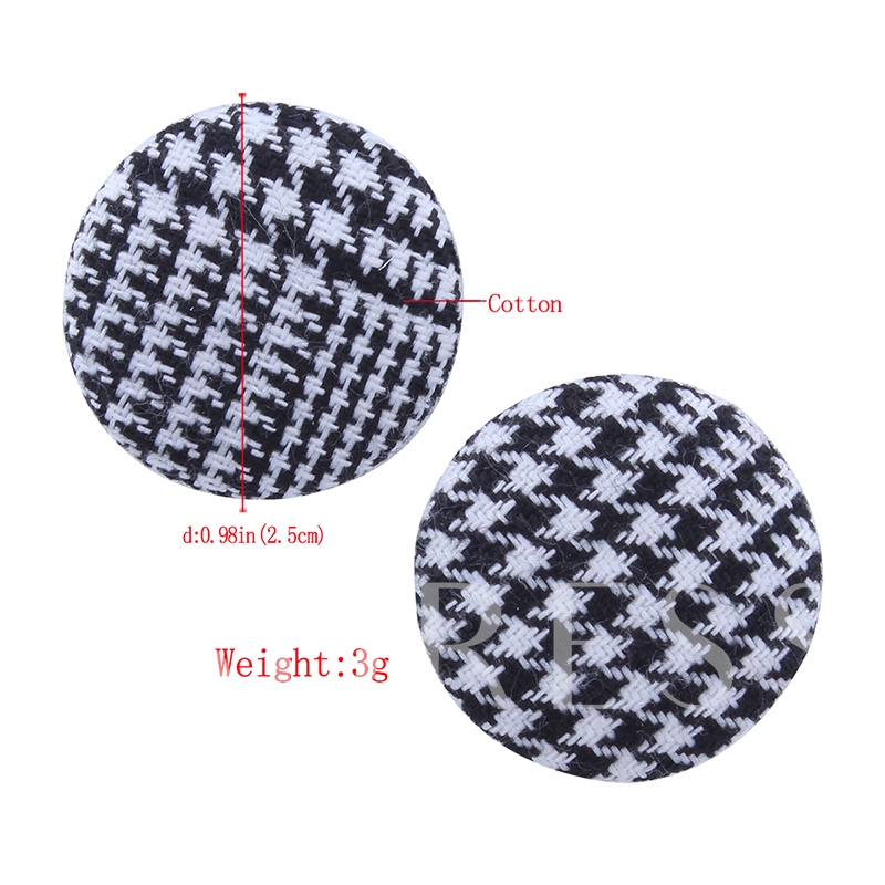 Houndstooth Button Velvet Round Simple Earrings
