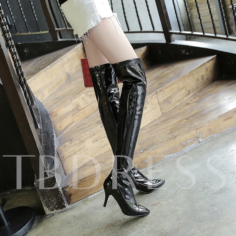Pointed Toe Patent Leather Short Floss High Heel Women's Knee High Boots
