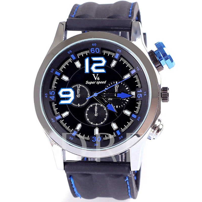 Silicone Strap Quartz Water Resistant Sports Three Eye Table Men's Watches