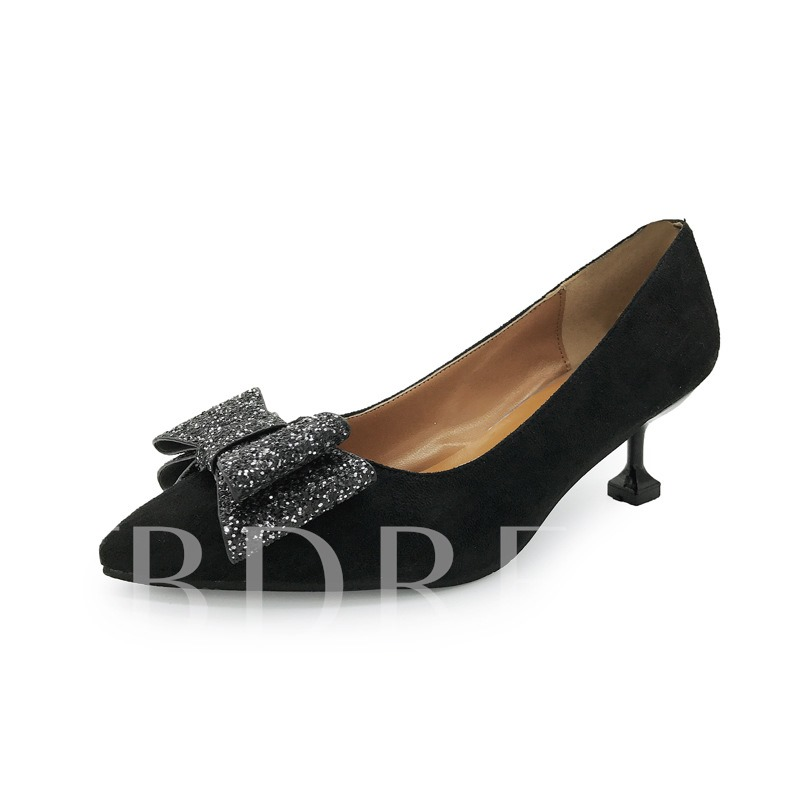 Buy Bow with Sequins Patchwork Solid Women's Sweet Pumps, Spring,Summer,Fall, 12976472 for $15.99 in TBDress store