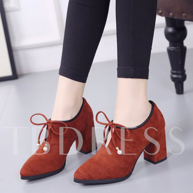 Motocycle Boots Lace-Up Beads Solid Women's Casual Shoes