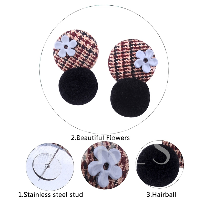 Flower Hairball Stainless Steel Round Earrings