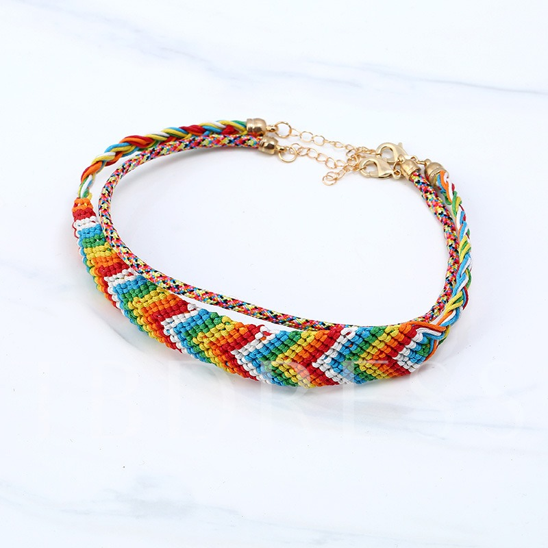 Color Block Alloy Woven Colorful Torques Choker Necklace