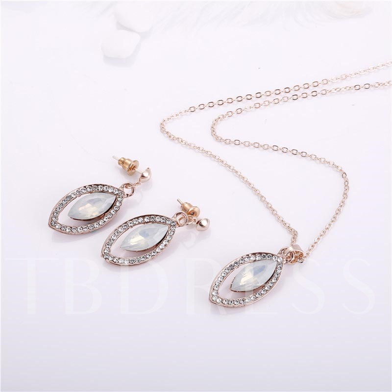 Hollow Out Alloy Marquise Diamante Rhinestone Jewelry Sets