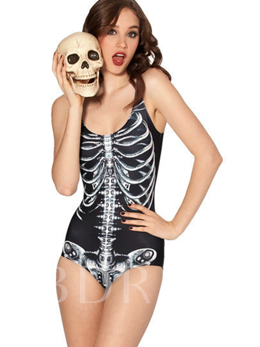 Halloween Skinny Skull Print One Piece Swimsuit