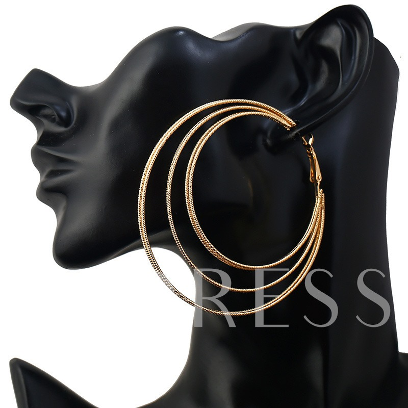 Geometric Circle Overgild Alloy Hollow Out Hoop Earrings