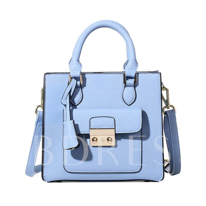 Concise Lock Decoration Solid Color Cross Body
