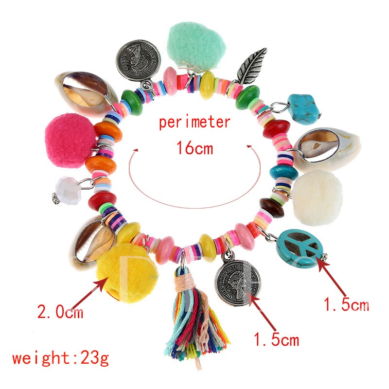 Shell Fuzzy Ball Rhinestone Colorful Coins Bracelet