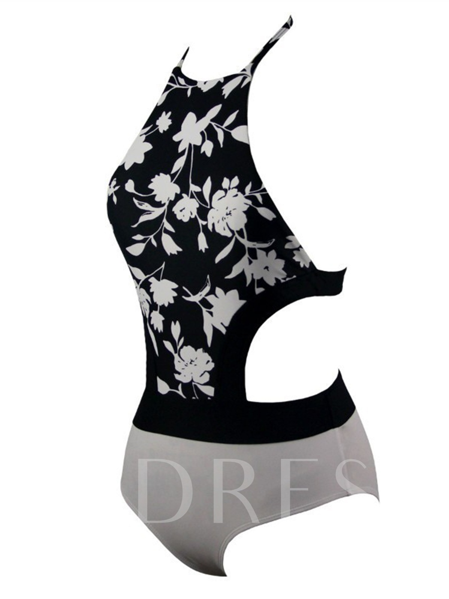 Lace-Up Flower Print Backless One Piece Swimsuit