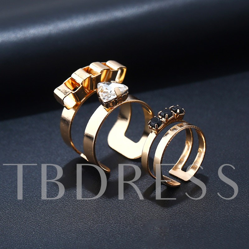 Simple Hollow Out Alloy Diamante Geometric Ring