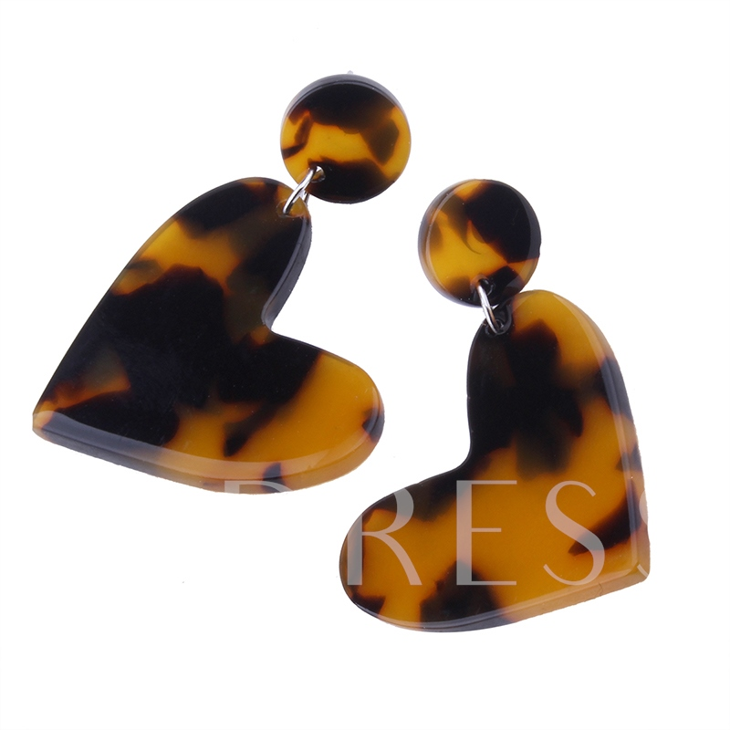 Heart Shaped Alloy Popular Acrylic Earrings