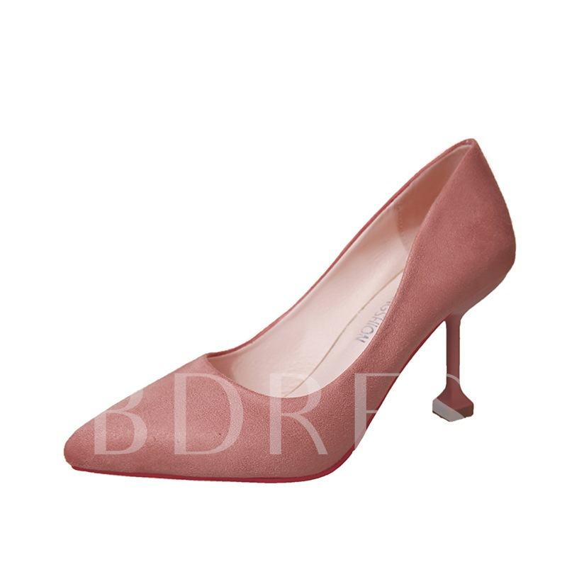 Suede Plain High Heels Slip-On Women's Pumps (Multiple Color Available)
