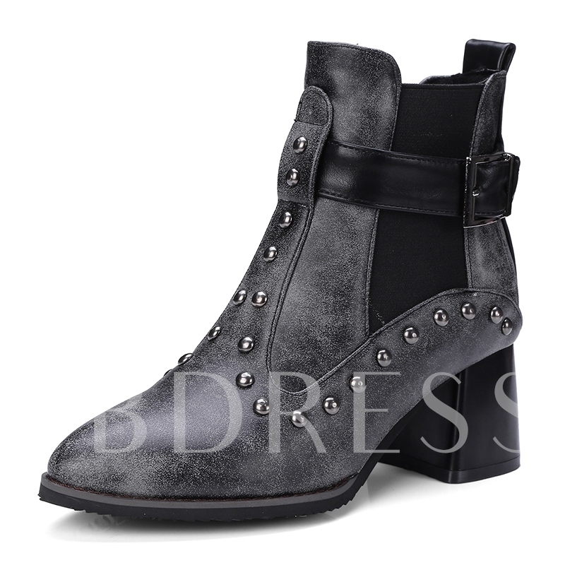 Punk Faded Effect Color Block Rivet Women's Ankle Boots
