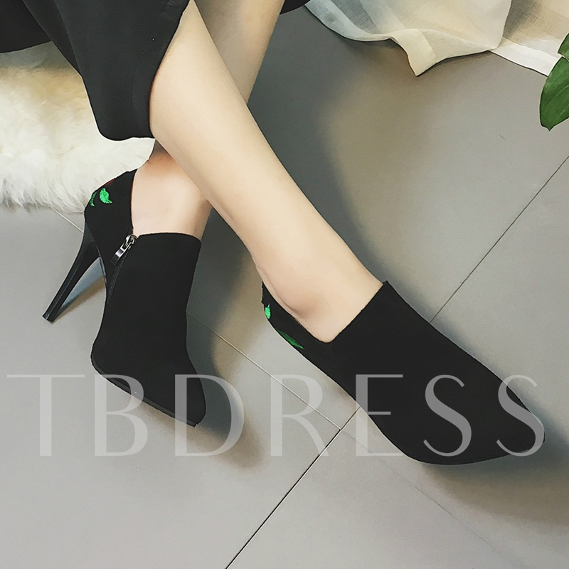 Embroidery Back Women's BlacK Boots High Heel Shoes