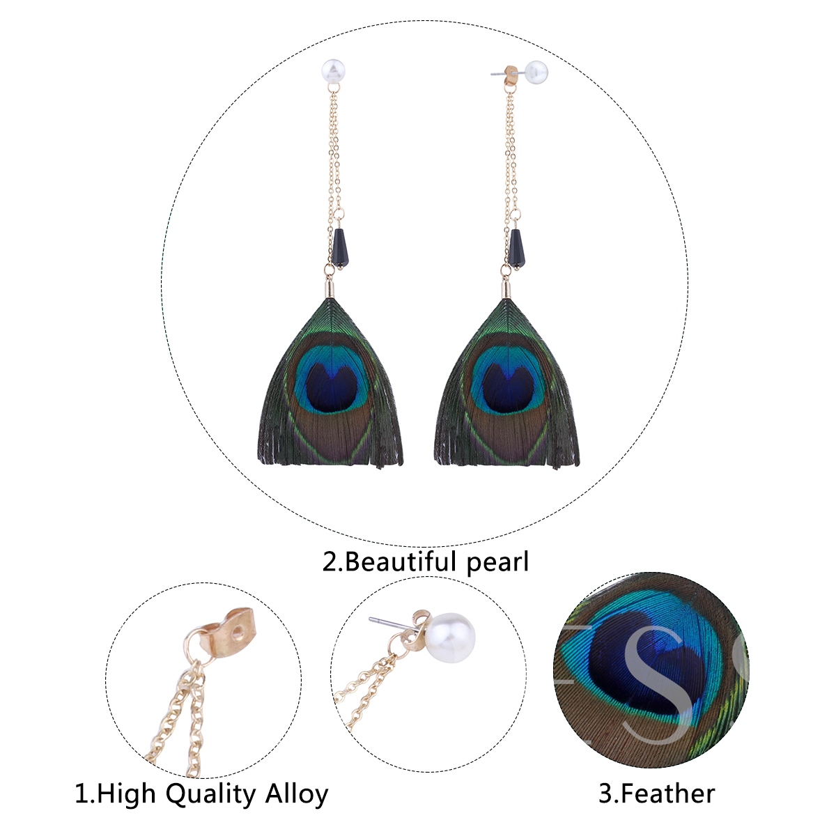 Imitation Pearl Peacock Feather Alloy Earrings