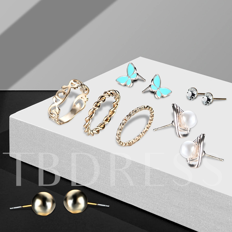 Butterfly Shaped Pearl Diamante Hollow Out  Earrings&Rings Jewelry Sets