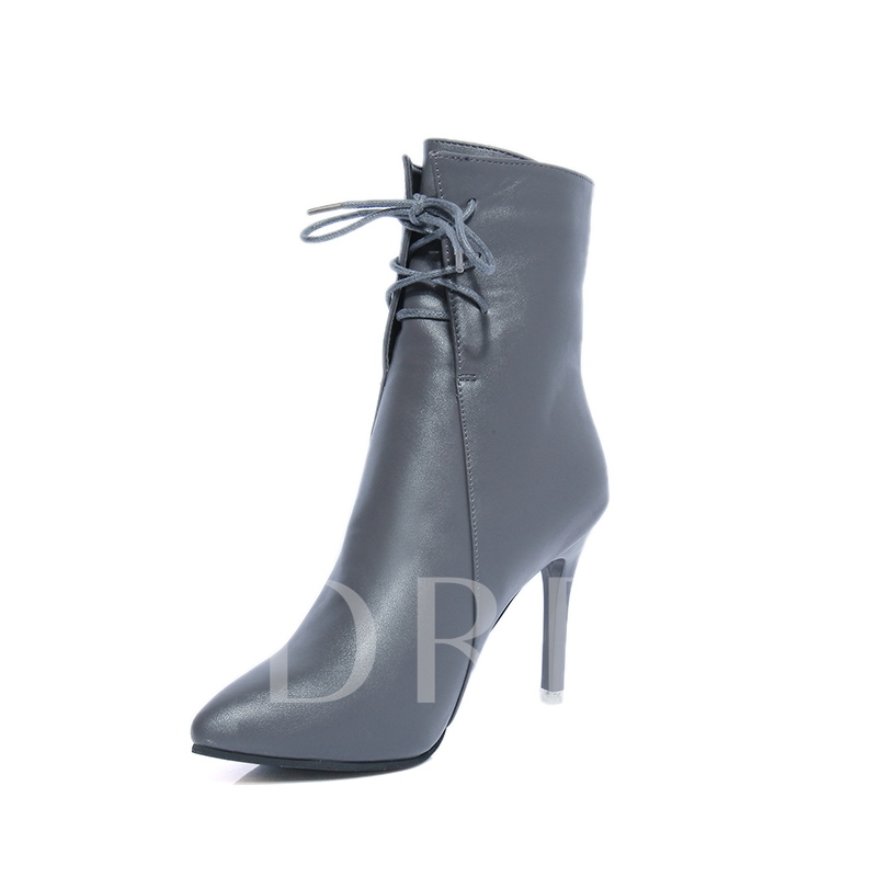 High Heels Cross Strap Back Zipper Women's Solid Ankle Boots