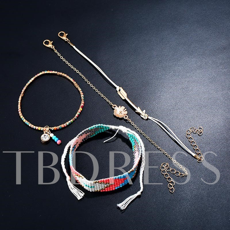 Alloy Colorful Beads Box Chain Arrow Bracelet
