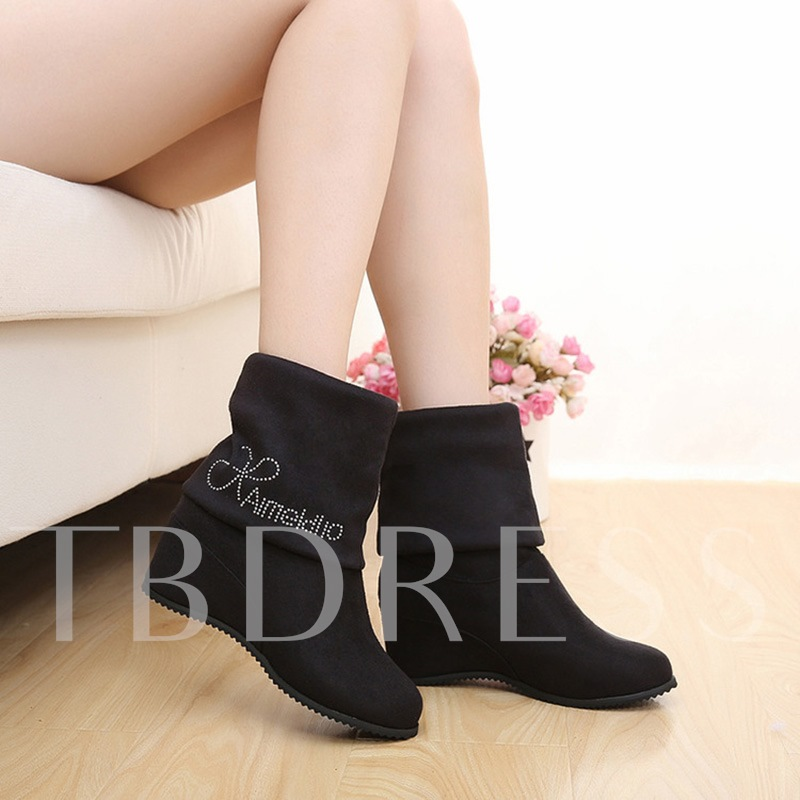 Height Increasing Letter Sequins Slip-On Women's Boots